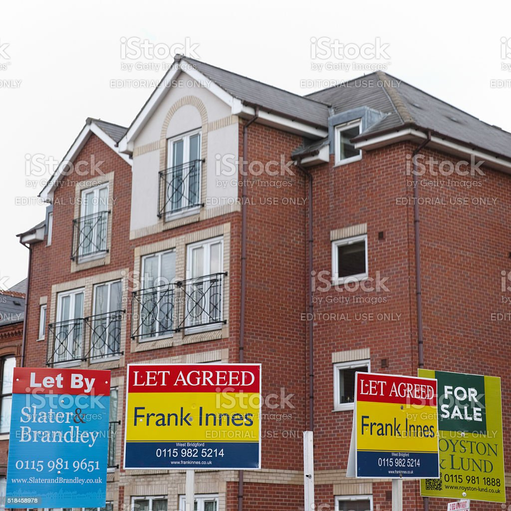 Estate agent property signs. stock photo