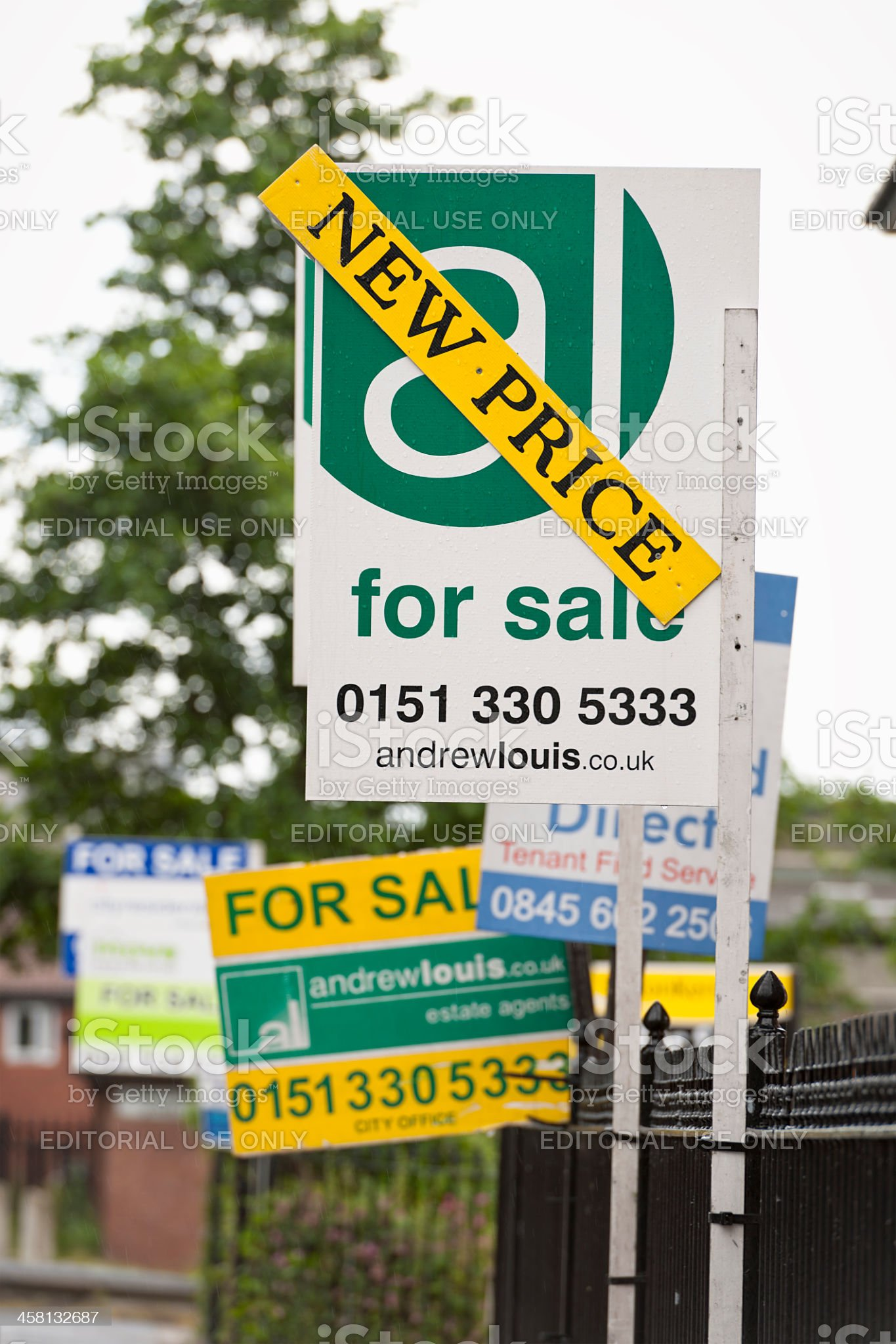 Estate Agent Signs on the Street royalty-free stock photo