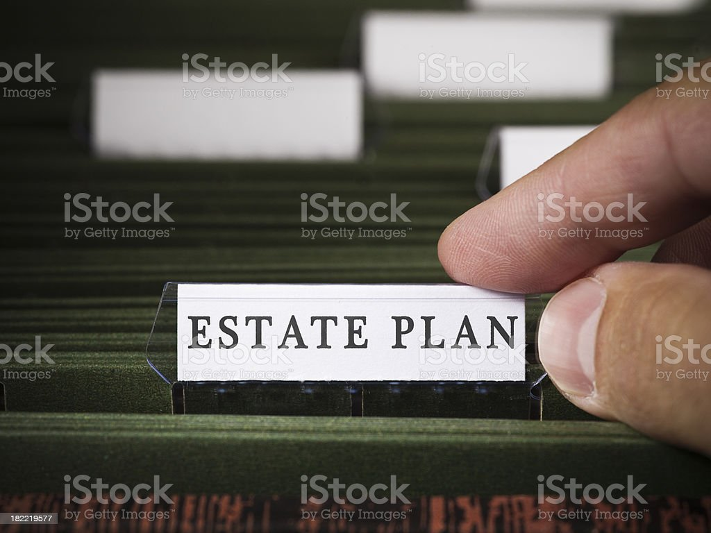 Estate plan file in a filing cabinet stock photo
