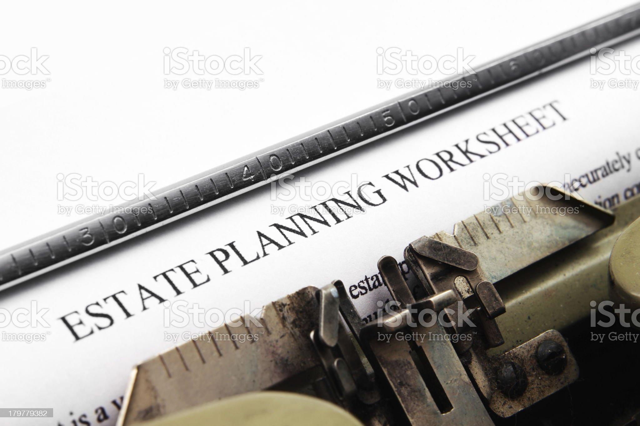 Estate plan worksheet royalty-free stock photo