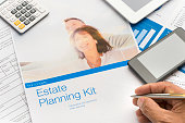Estate planning brochure with mature couple