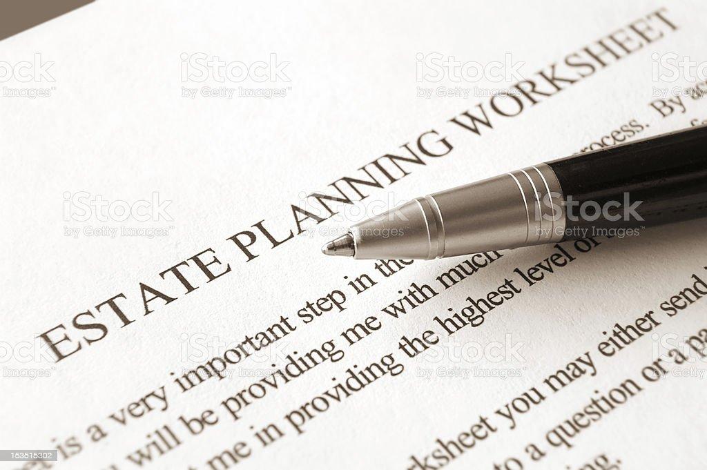 Estate Planning Worksheet stock photo