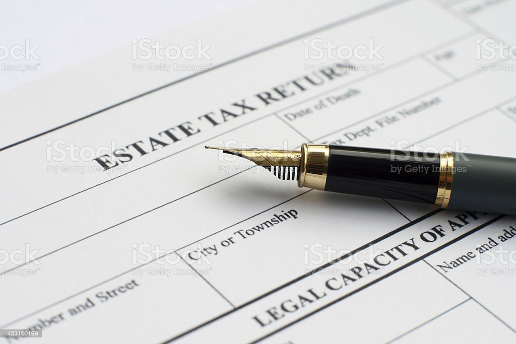 Estate tax form stock photo