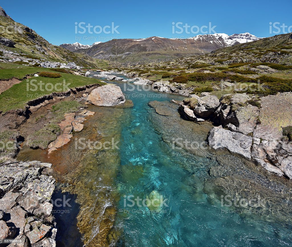 Estaube Gave river watercourse stock photo