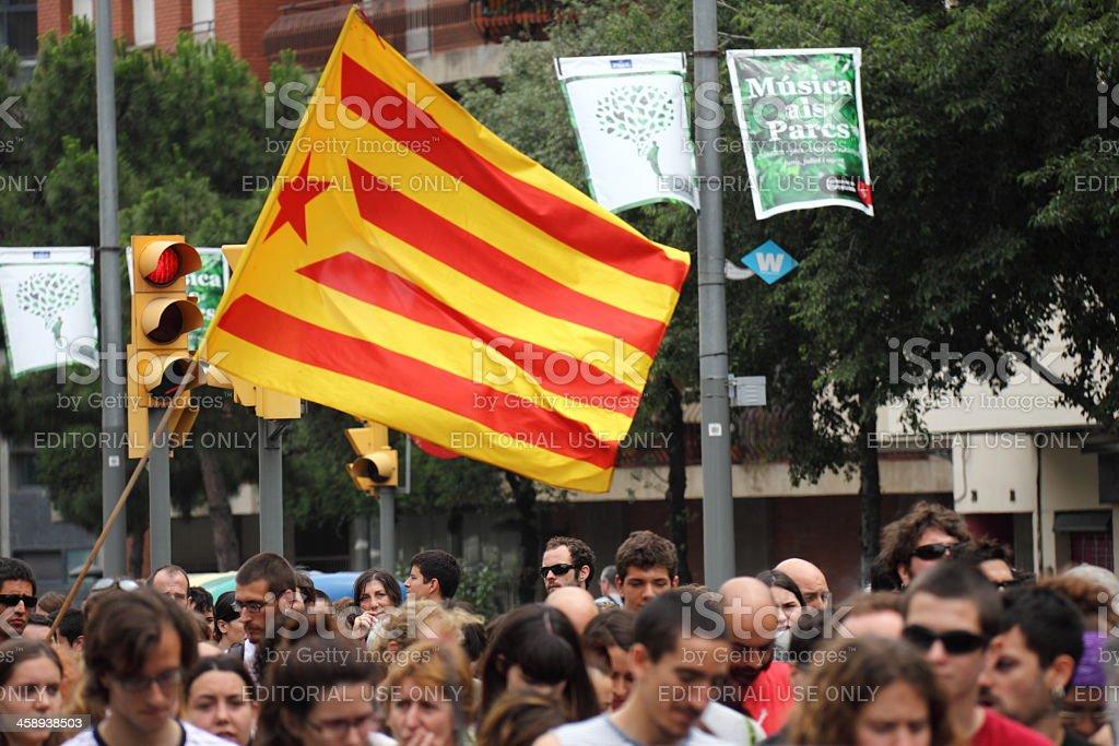 Estelada - Catalan separatist flag stock photo
