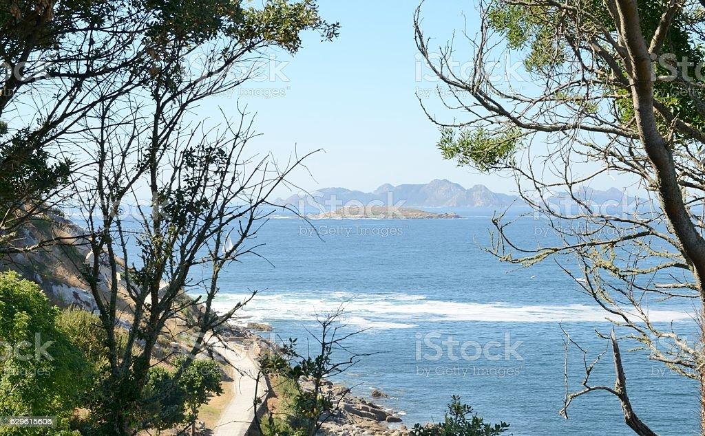 Estelas Islands from the coast of Bayona stock photo