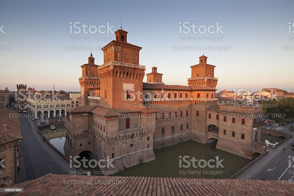 Estense Castle in Ferrara stock photo