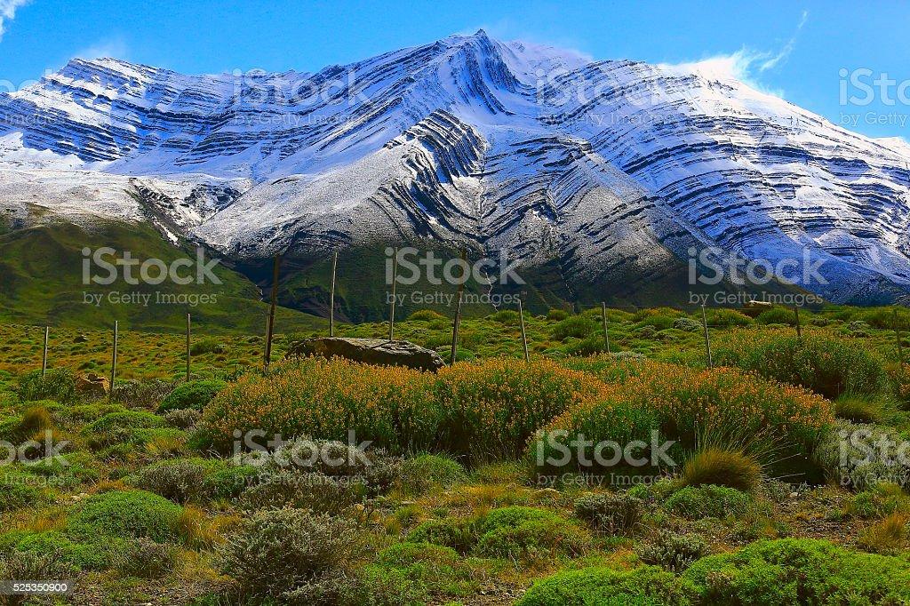 Estepe and mountain - Chalten, Fitzroy, Patagonia Argentina, Los Glaciares stock photo
