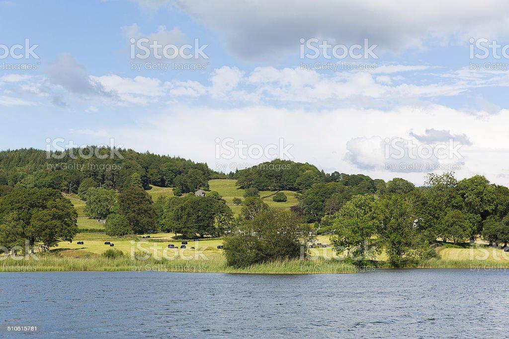 Esthwaite Water and countrside Lake District Cumbria near Hawkshead village stock photo