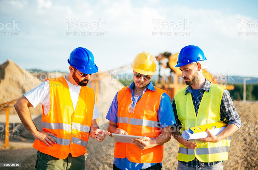 Estimation for job completition on construction site stock photo