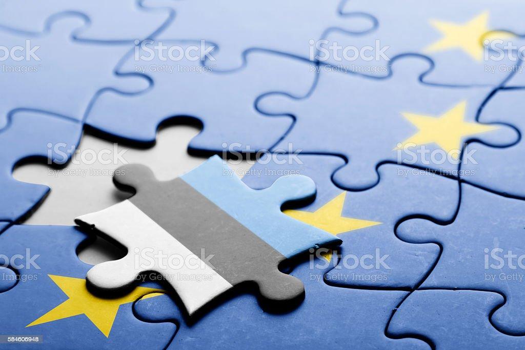 Estonia. Exit from European Union concept puzzle stock photo