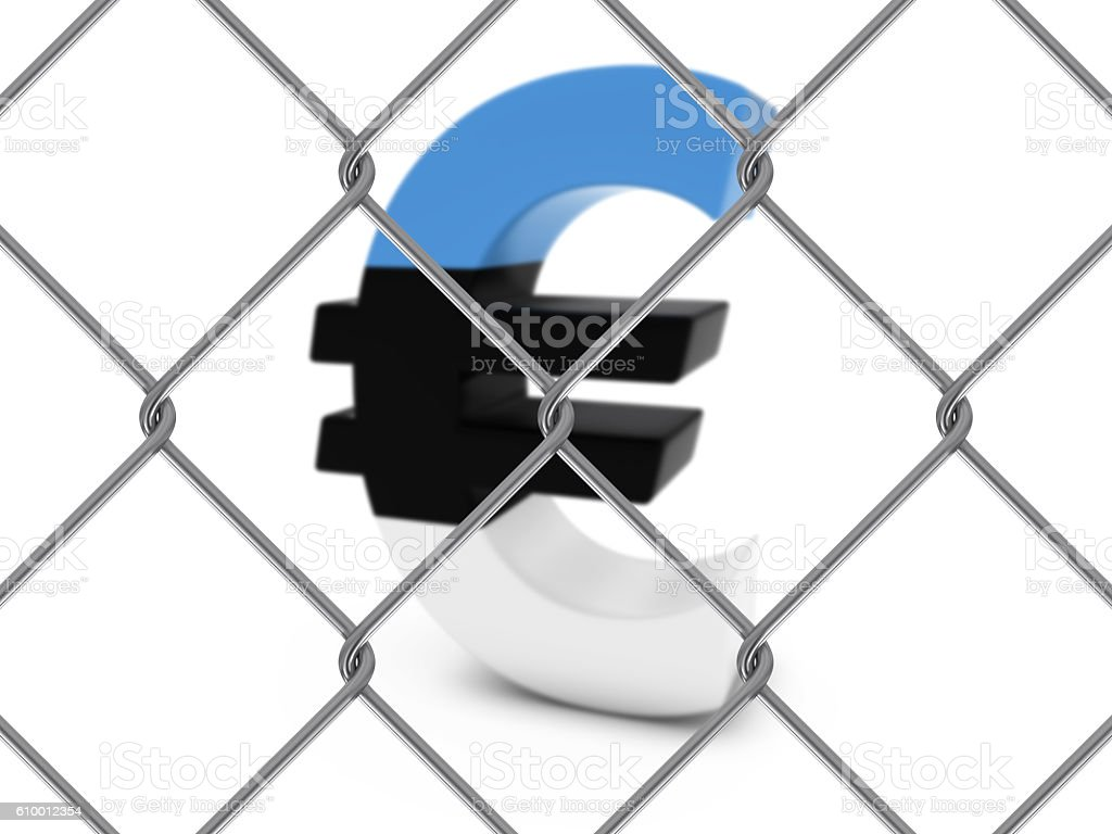 Estonian Flag Euro Symbol Behind Chain Link Fence stock photo
