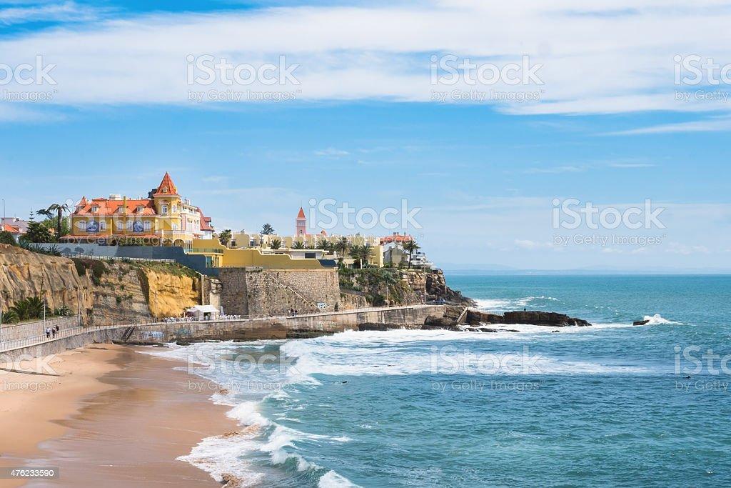 Estoril coastline near Lisbon in Portugal stock photo