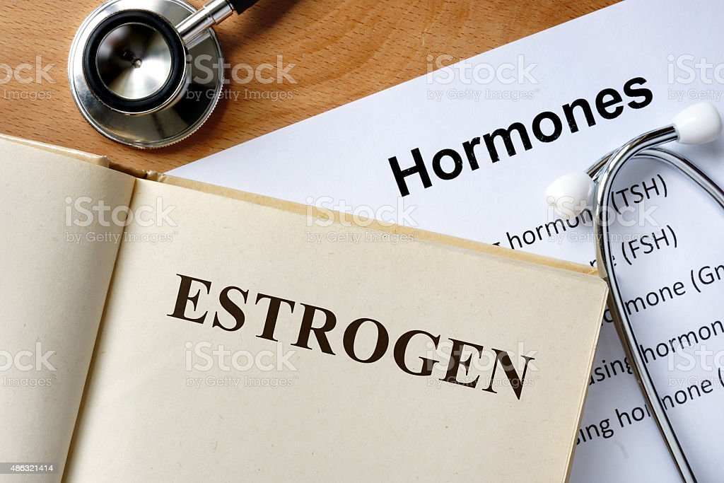 Estrogen word written on the book and hormones list. stock photo