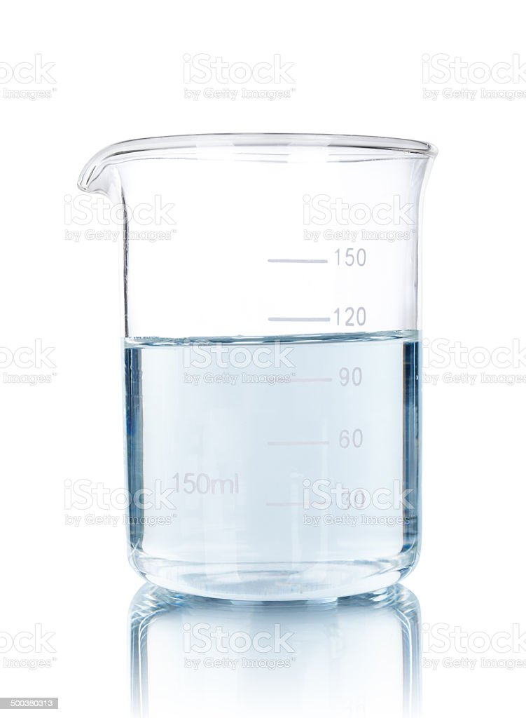 est-tube with blue liquid isolated on white stock photo