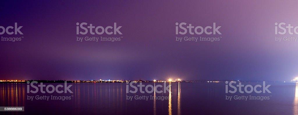 Estuary at night. stock photo