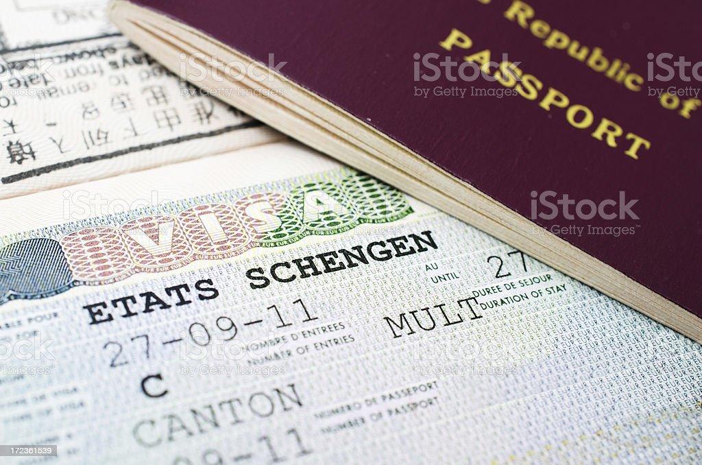 Etats Schengen visa stock photo