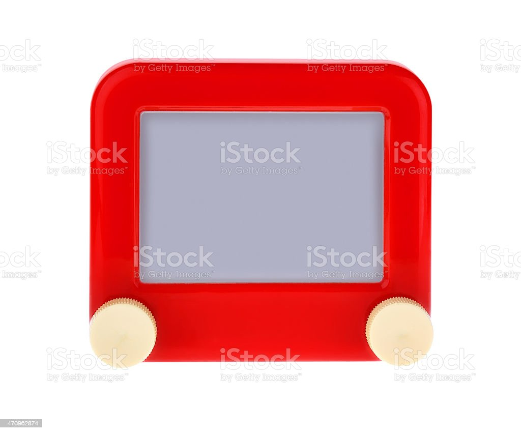 Etch A Message on a Red Sketch Board stock photo