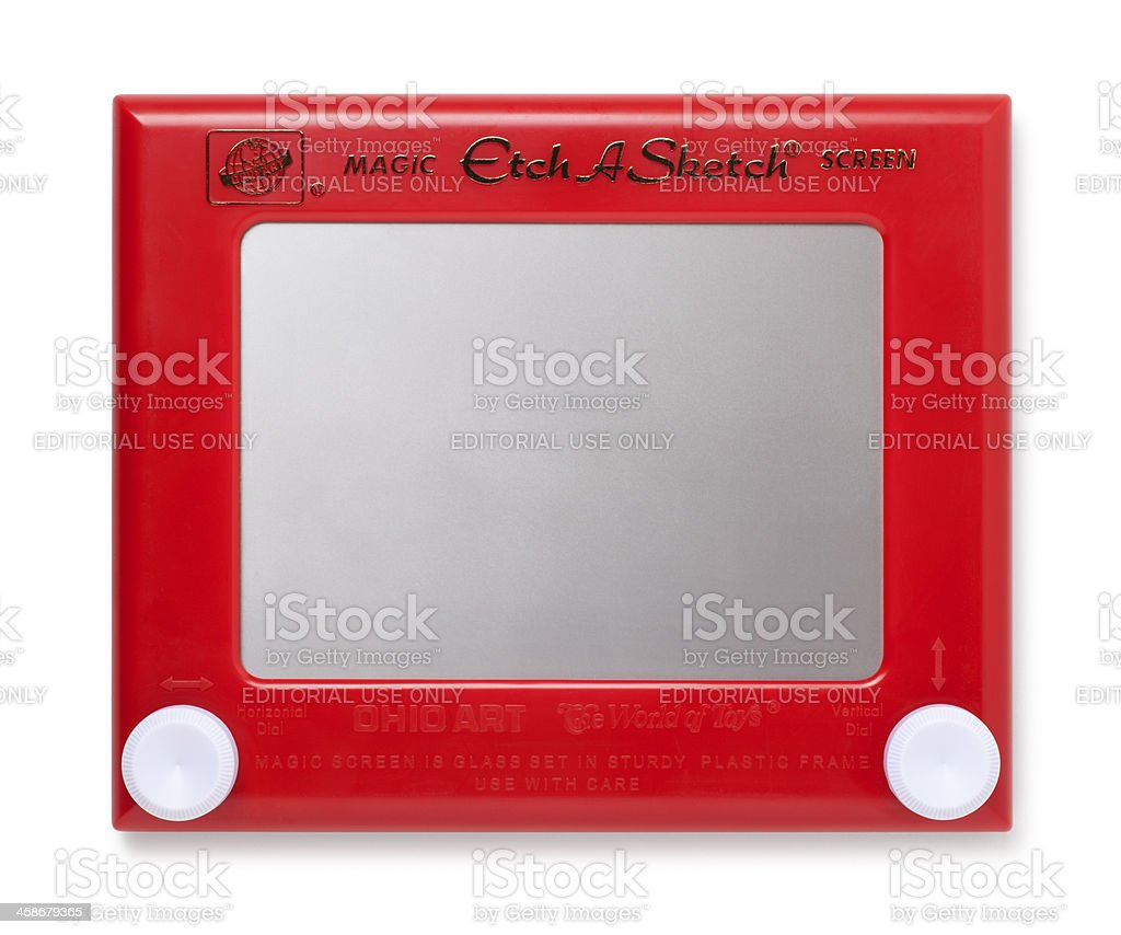 Etch A Sketch Toy on White stock photo