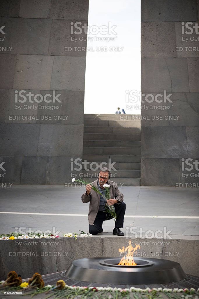 Eternal flame at the Armenian Genocide Memorial in Yerevan stock photo
