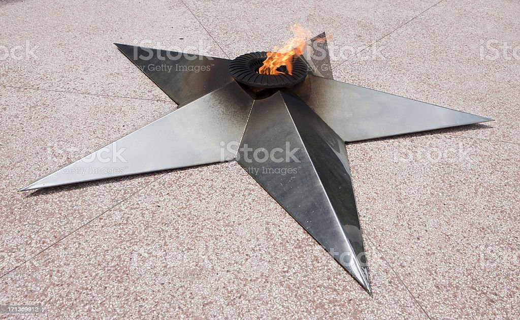 Eternal flame at the Memorial of boat Granma, Havana, Cuba stock photo