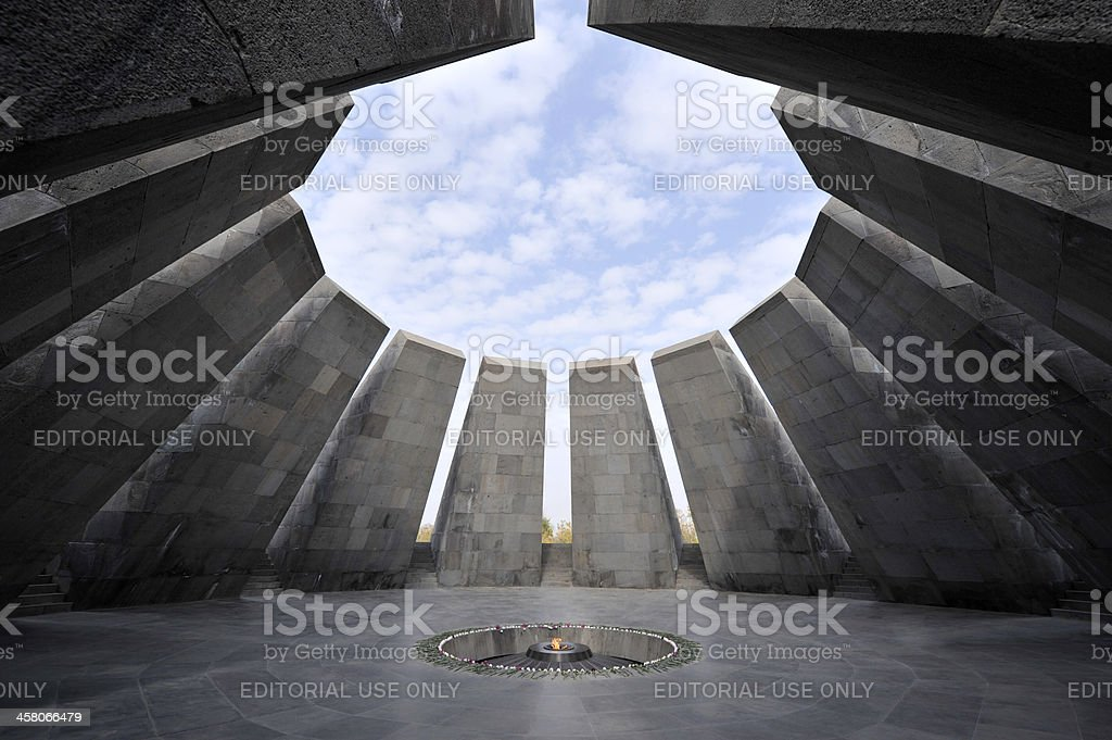 Eternal flame in Tsitsernakaberd memorial stock photo