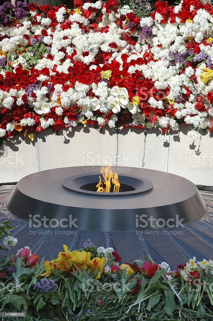 Eternal flame in Tsitsernakaberd stock photo