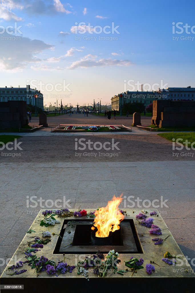 Eternal Flame memorial at Field of Mars in Russia stock photo