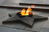 Eternal flame on Square of Fallen Fighters. Volgograd