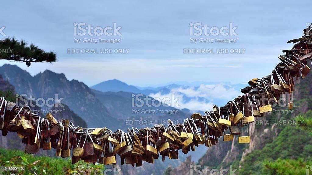 Eternal heart lock in Huangshan mountains stock photo