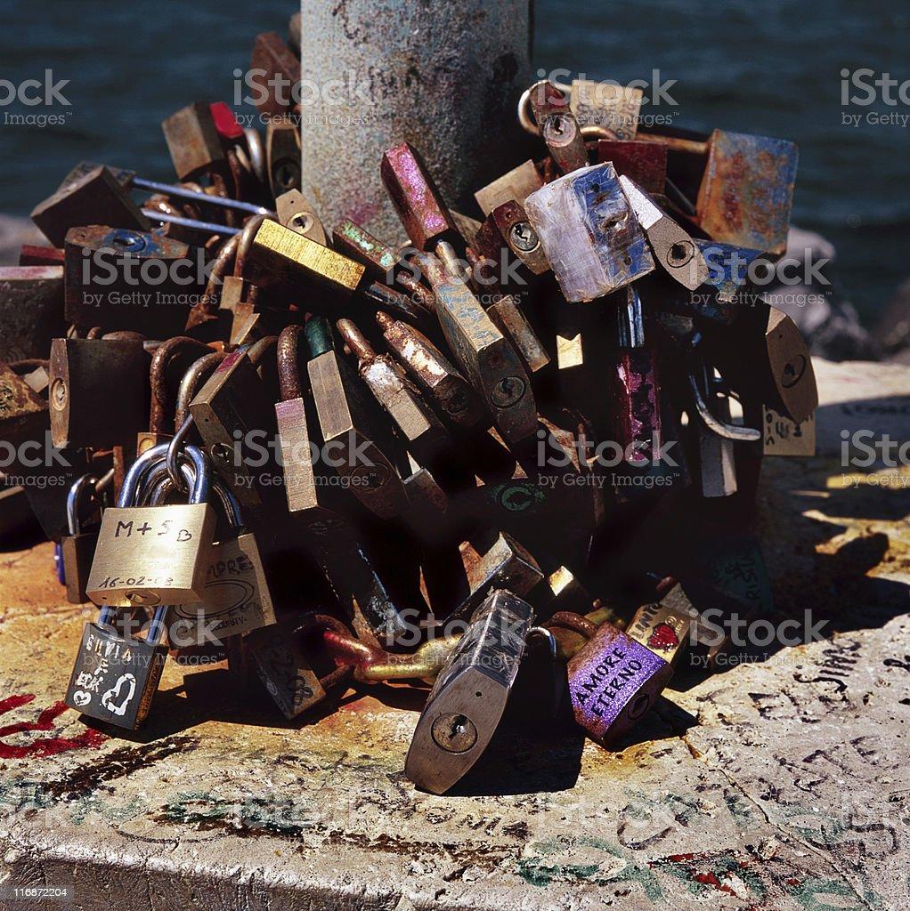 Eternal love said with padlocks around a pole stock photo