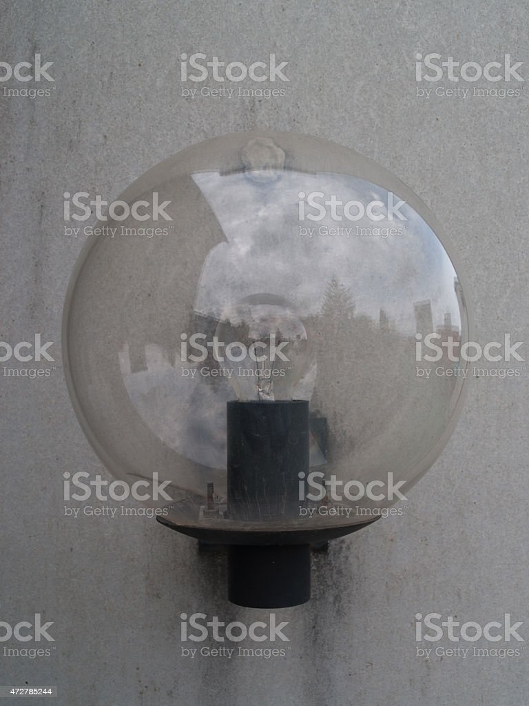 Eternit Wall with a single lamp, Close up stock photo