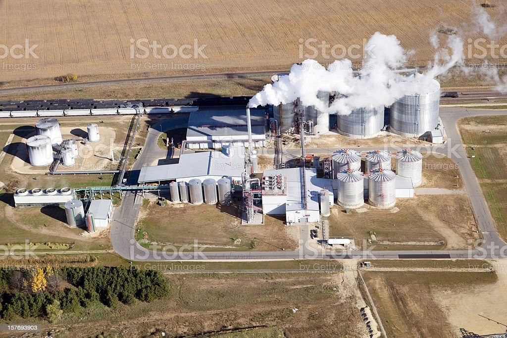 Ethanol Biorefinery Fall Aerial View stock photo