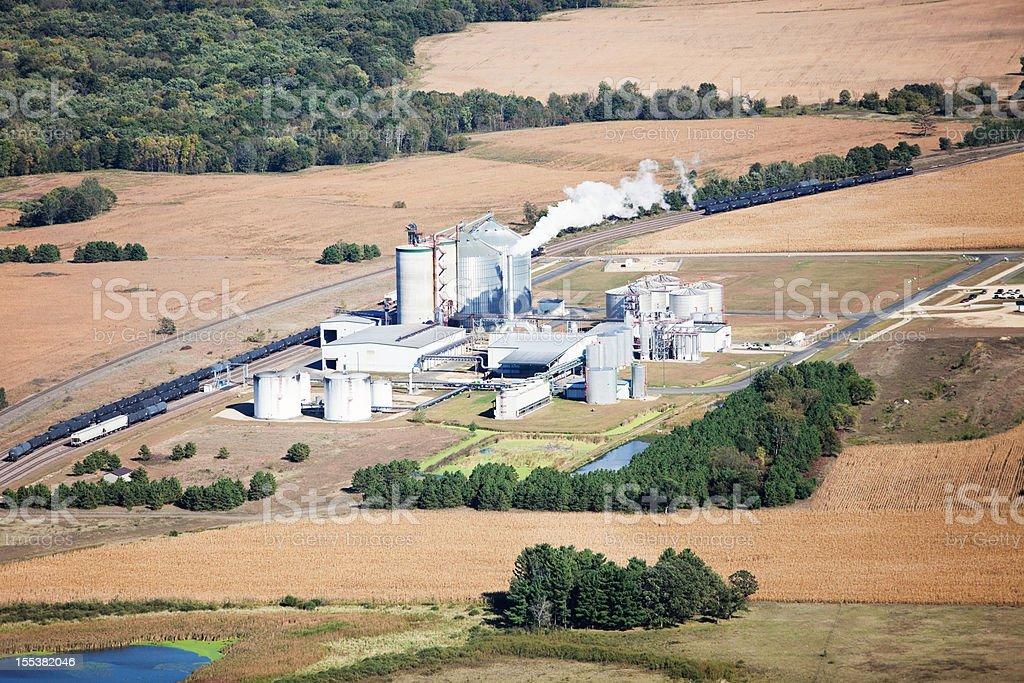 Ethanol Biorefinery Fall Aerial with Farmland stock photo