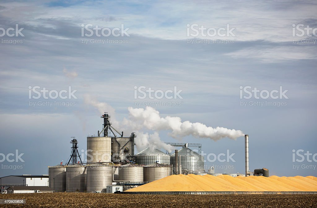 Ethanol Plant and Smokestack in the Midwest. stock photo