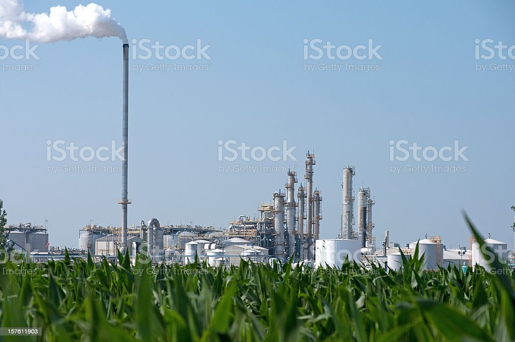 Ethanol Plant by Corn Field royalty-free stock photo