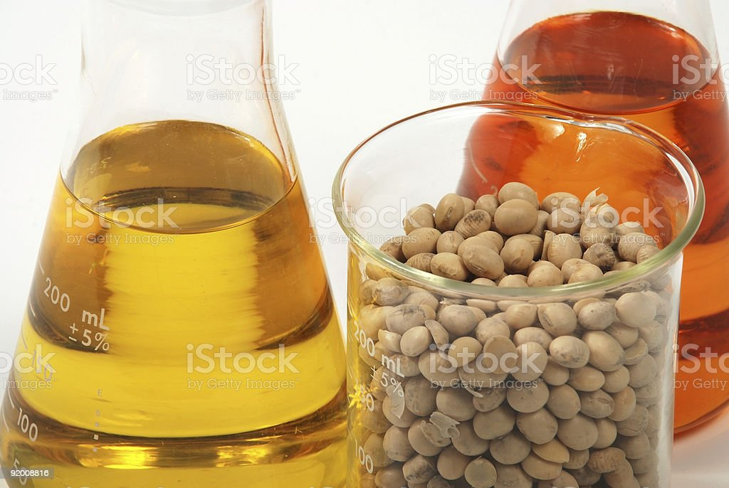 Ethanol produce by soy seeds stock photo
