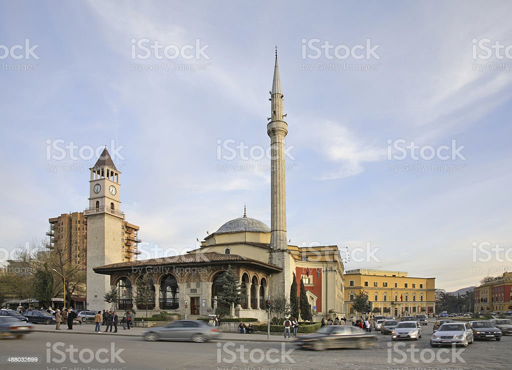 Ethem Bey mosque and clock tower  in Tirana. Albania stock photo