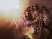 Ethereal Guardian Arch Angel Statue Holding Protecting Dark Hair Woman