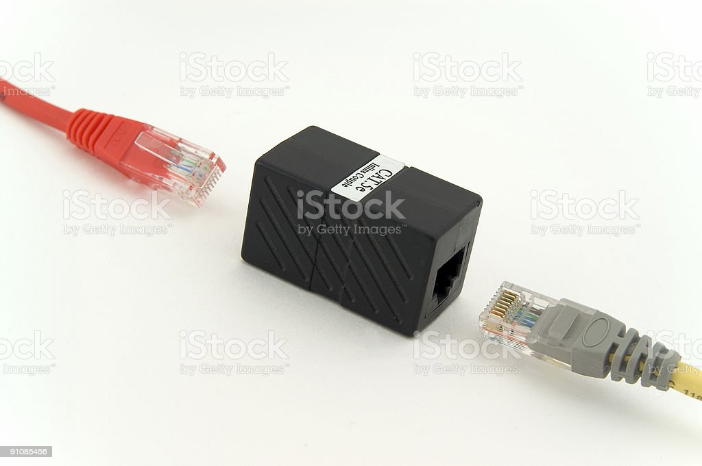 RJ45 ethernet cable couple stock photo