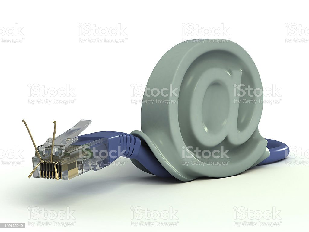 ethernet cable - snail stock photo