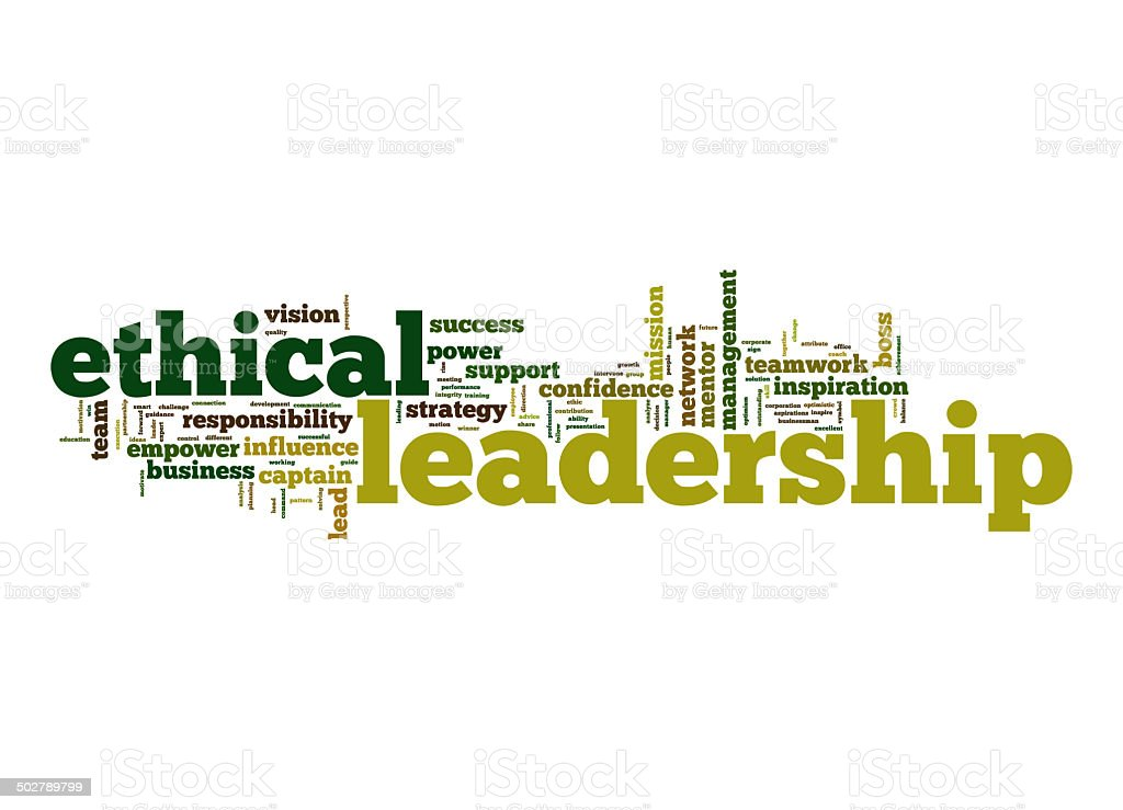 Ethical leadership word cloud stock photo