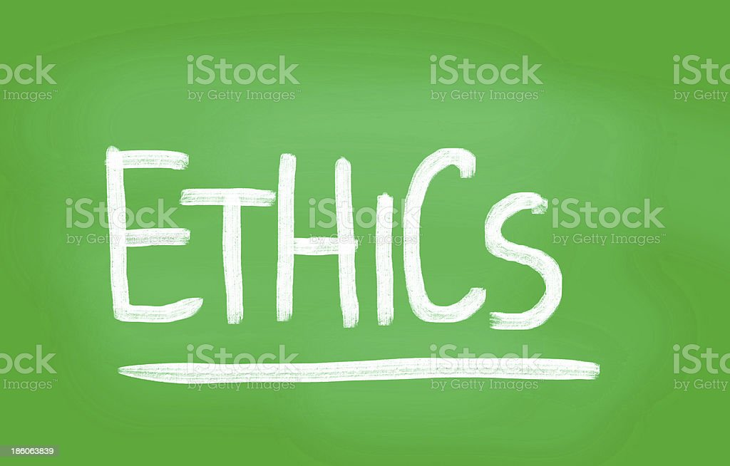 'Ethics' handwritten with white chalk on a blackboard royalty-free stock photo