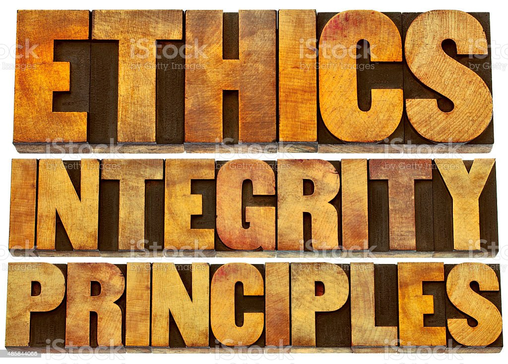 ethics, integrity and principles in wood type stock photo