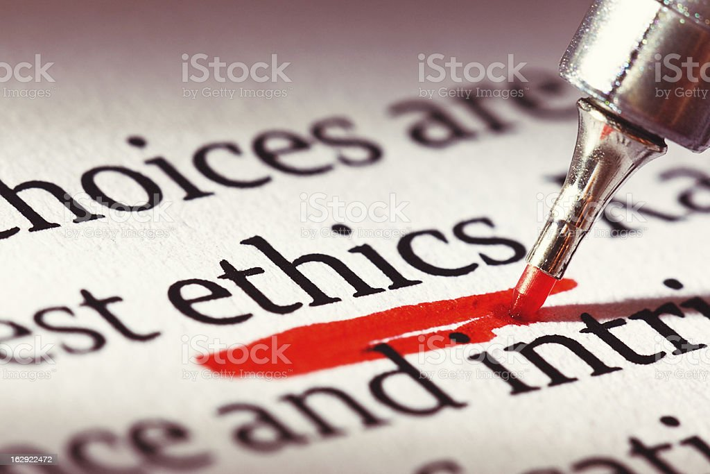 Ethics is underscored heavily in a document: morality has relevance! stock photo