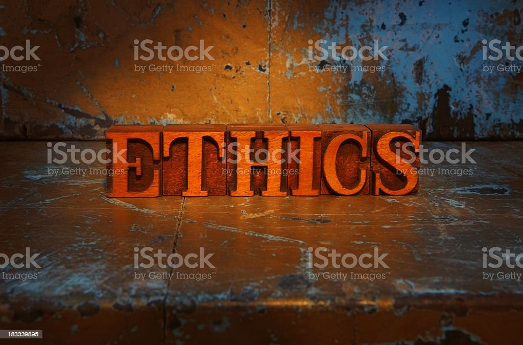 Ethics -Lit up word royalty-free stock photo