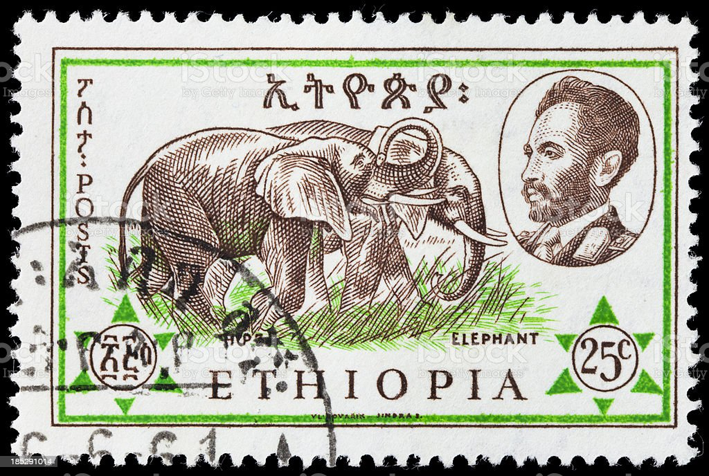 Ethiopia elephant postage stamp royalty-free stock photo