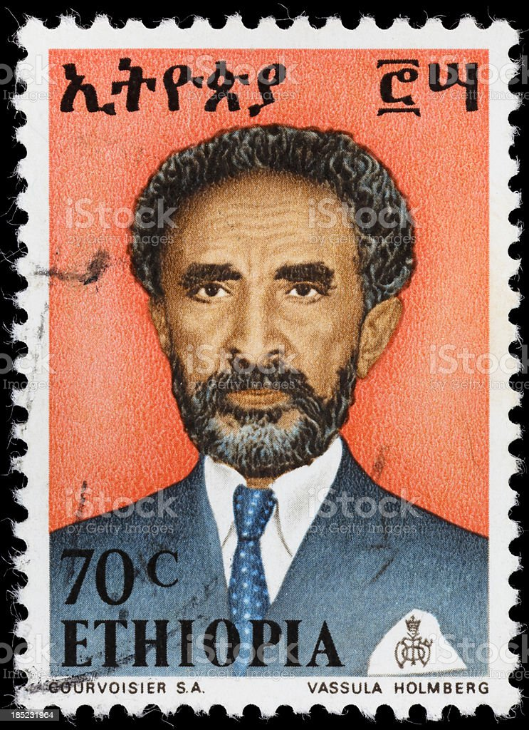 Ethiopia Emperor Haile Selassie postage stamp stock photo