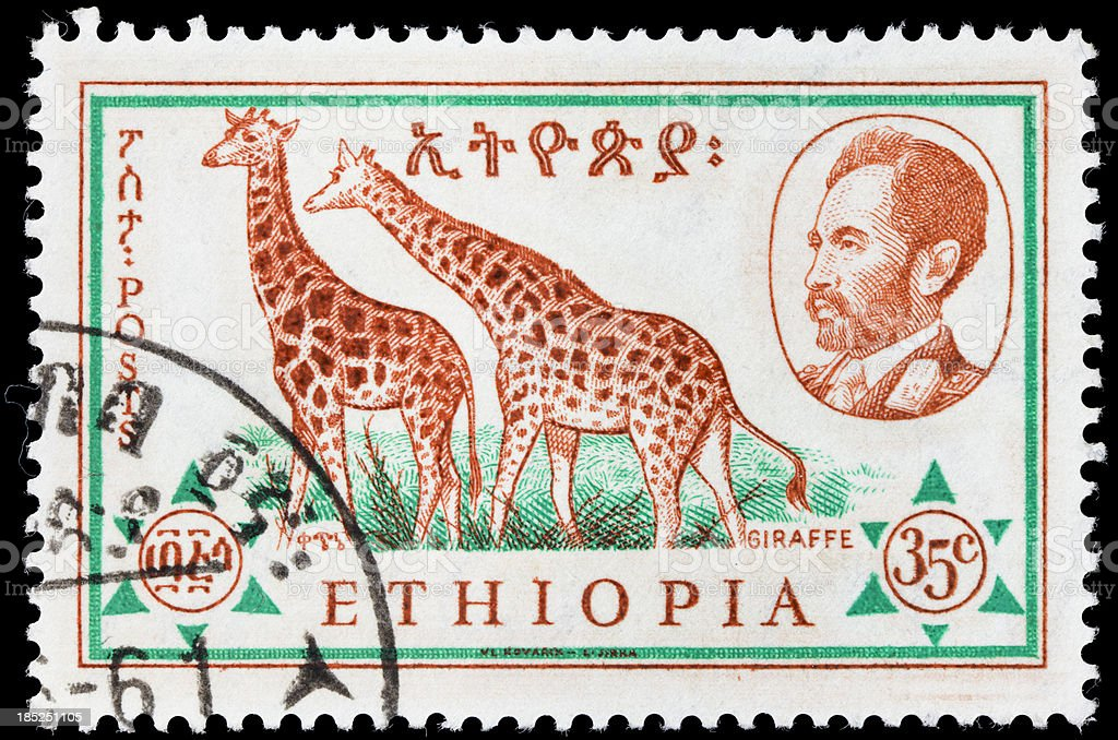 Ethiopia giraffe postage stamp royalty-free stock photo