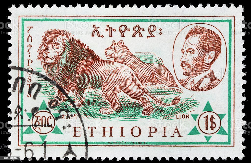 Ethiopia lion postage stamp stock photo